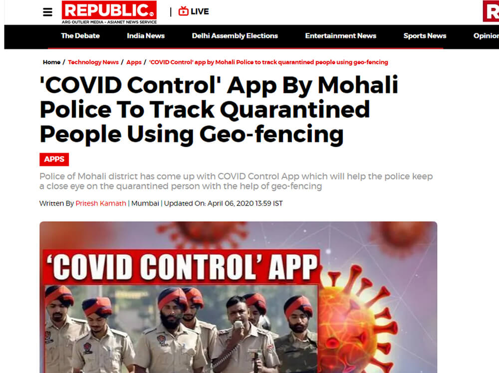COVID Control' App By Mohali Police To Track Quarantined People Using Geo-fencing