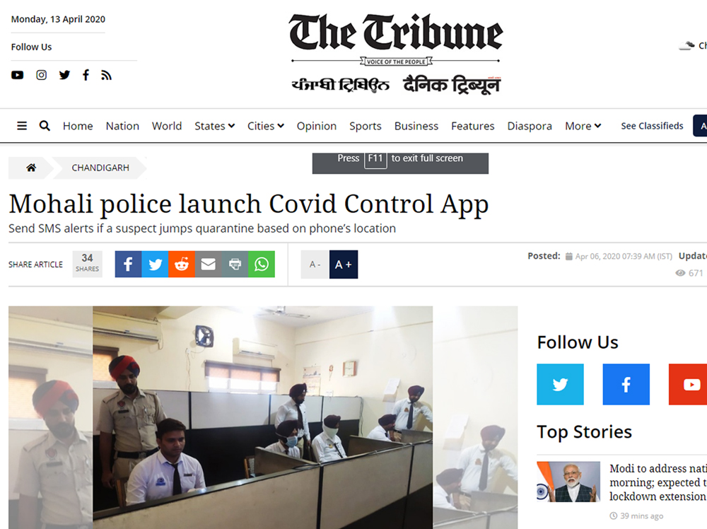 Mohali police launch Covid Control App