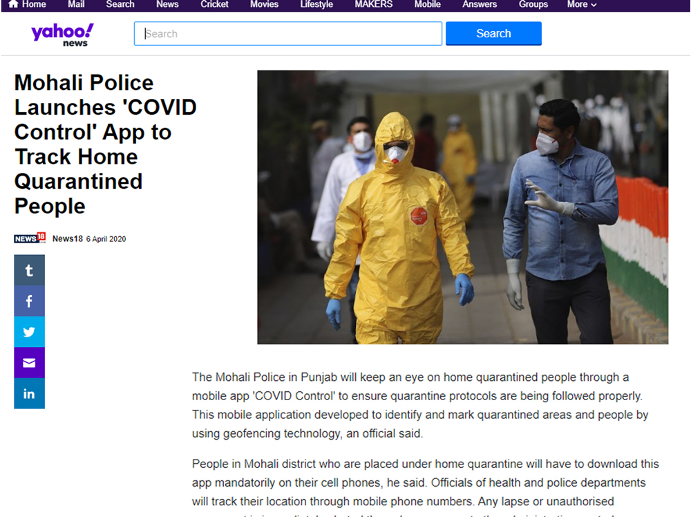 Mohali Police Launches 'COVID Control' App to Track Home Quarantined People
